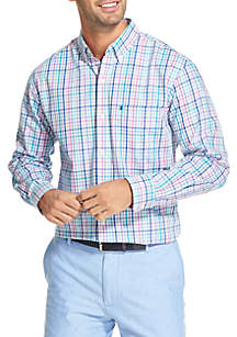 Long Sleeve Multicolored Gingham Print Shirt