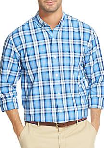 IZOD Long Sleeve Plaid Print Shirt