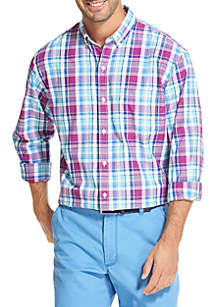 IZOD Long Sleeve Medium Plaid Breeze Shirt
