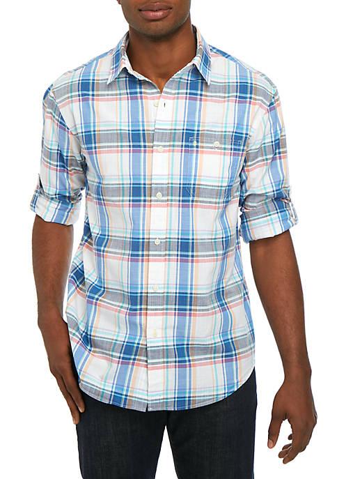 Long Sleeve Medium Plaid Chambray Shirt