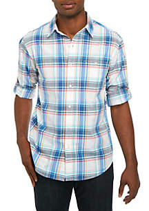 IZOD Long Sleeve Medium Plaid Chambray Shirt