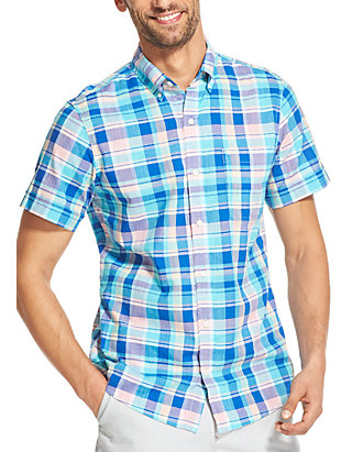 55118dc79d9 IZOD Saltwater Dockside Chambray Plaid Short Sleeve Button Down Shirt