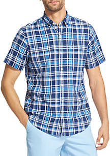 Short Sleeve Chambray Plaid Shirt
