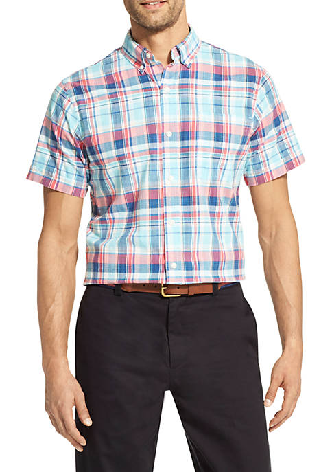 IZOD Saltwater Dockside Chambray Plaid Short Sleeve Button