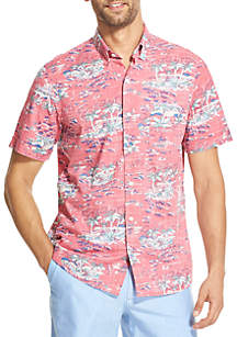 IZOD Saltwater Dockside Chambray Printed Short-Sleeve Button-Down Shirt