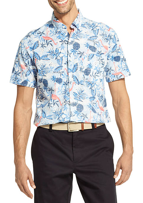 IZOD Saltwater Dockside Chambray Printed Button Down Shirt