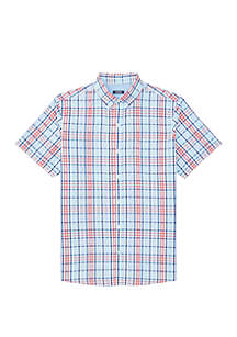 IZOD Breeze Plaid Short Sleeve Button Down Shirt