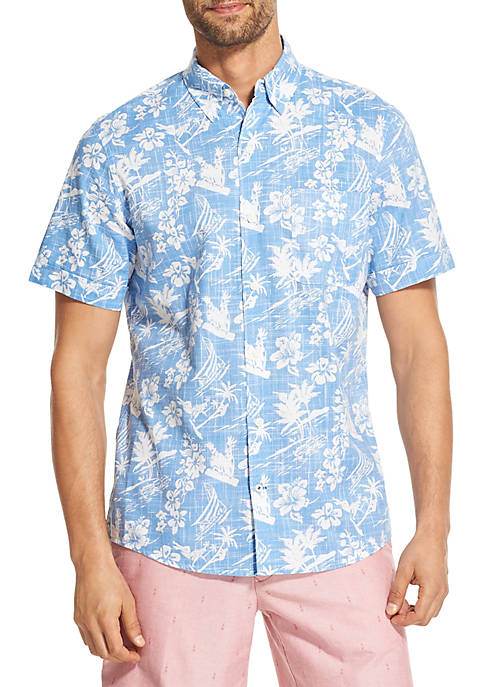 IZOD Saltwater Dockside Chambray Printed Short-Sleeve Button-Down