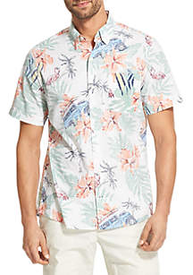 Short Sleeve Chambray Flamingo Print Shirt