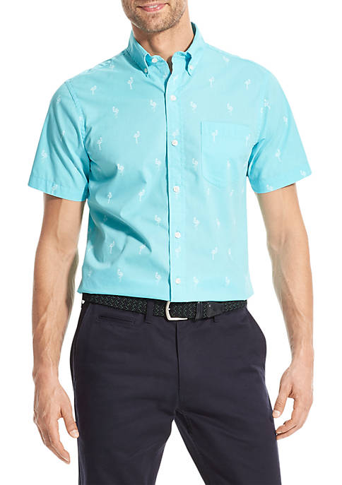 IZOD Breeze Print Short Sleeve Button Down Shirt