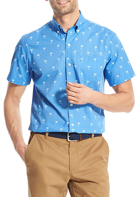 IZOD Breeze Print Short Sleeve Button Front Shirt