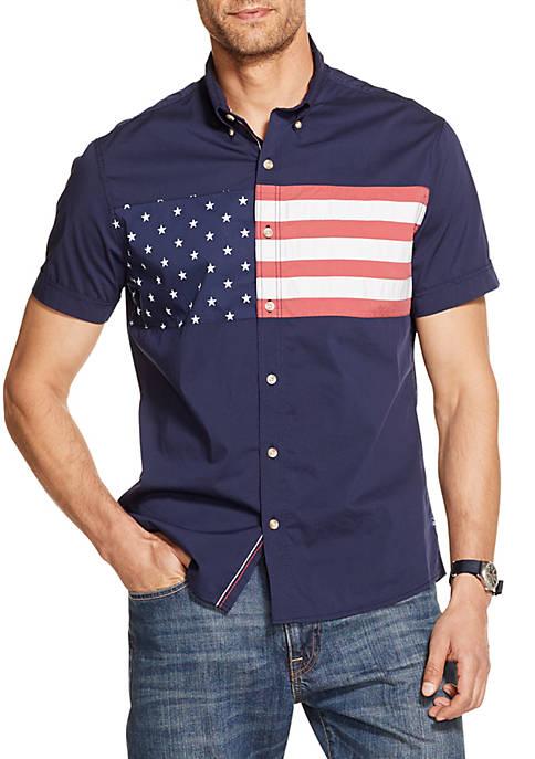 Breeze Printed Short Sleeve Button Down Shirt