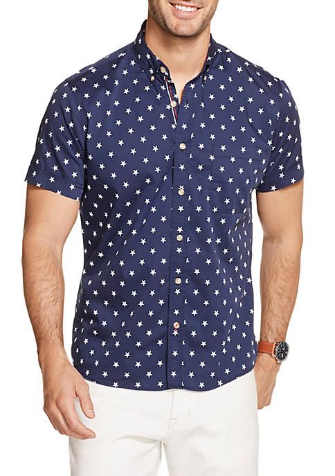 IZOD Breeze Printed Short Sleeve Button Down Shirt