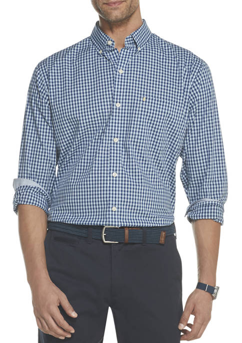 IZOD Mens Premium Essentials Stretch Gingham Button Down