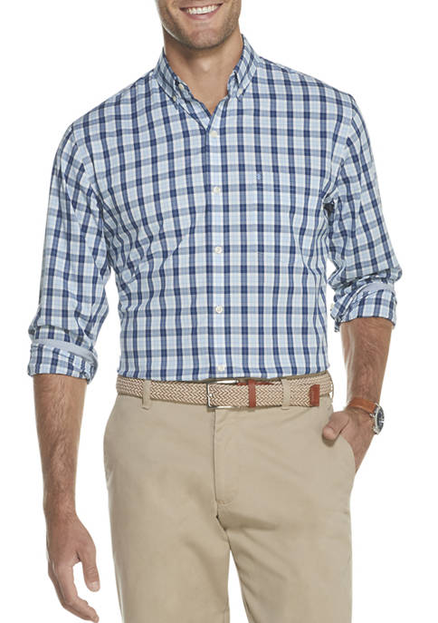 IZOD Mens Premium Essentials Stretch Plaid Button Down