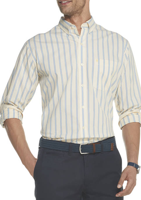 IZOD Mens Premium Essentials Stretch Stripe Button Down