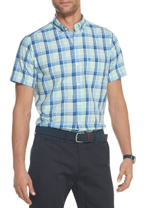 IZOD Mens Advantage Performance Plaid Button Down Shirt