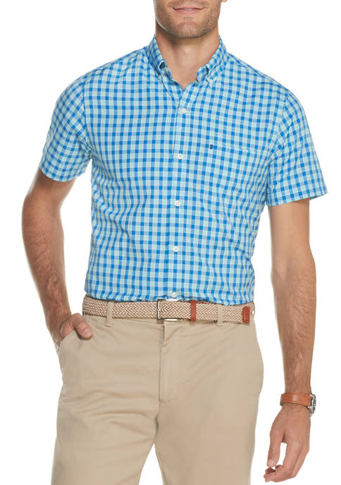 IZOD Mens Advantage Performance Check Short Sleeve Button