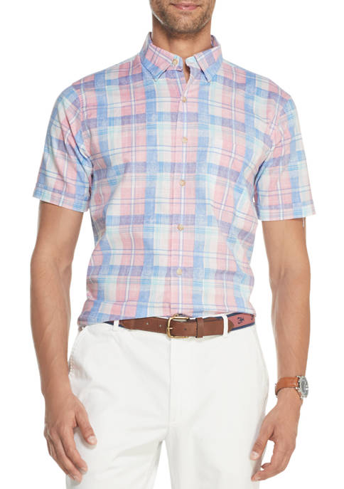 IZOD Mens Dockside Chambray Plaid Short Sleeve Button