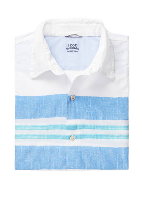 IZOD Mens Dockside Chambray Striped Short Sleeve Button
