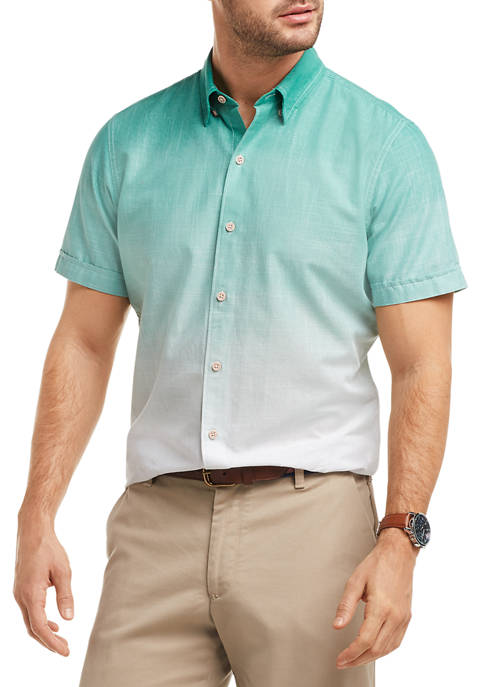 IZOD Dockside Chambray Ombre Short Sleeve Button Up