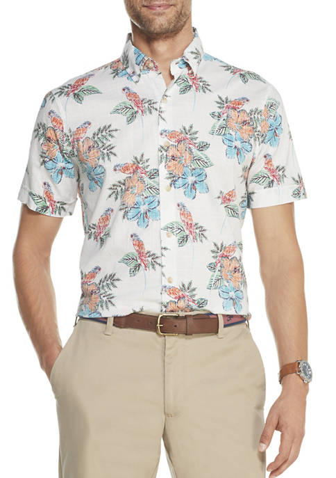 IZOD Mens Dockside Chambray Printed Short Sleeve Button
