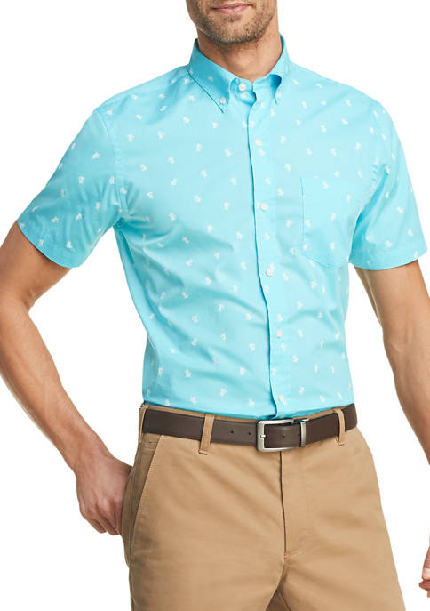 Advantage Performance Turtle Print Short Sleeve Button Down Shirt