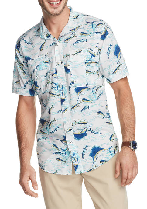 IZOD Saltwater Printed Performance Beach Button Up Shirt
