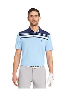 Short Sleeve Color Block Stripe Polo