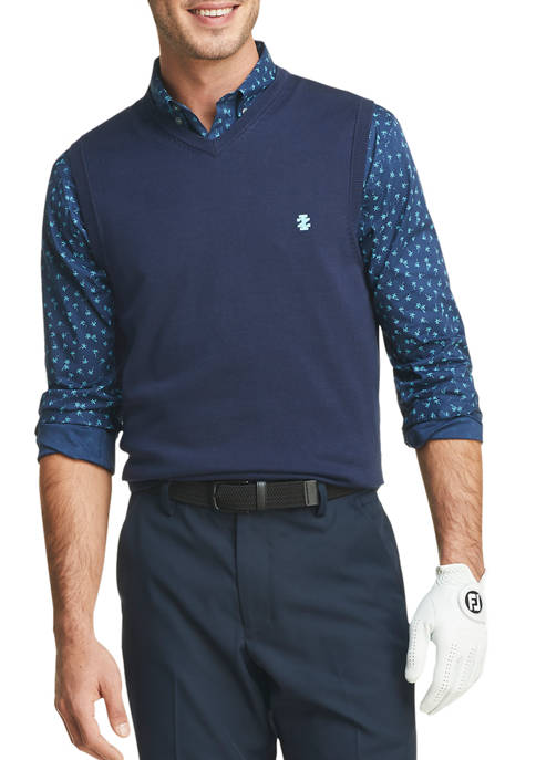 IZOD Mens Golf Knit V Neck Vest