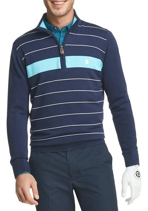 IZOD Mens Golf Striped Quarter Zip Pullover