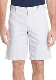 Flat Front Printed Seersucker Shorts
