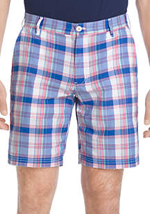 Flat Front Plaid Madras Shorts