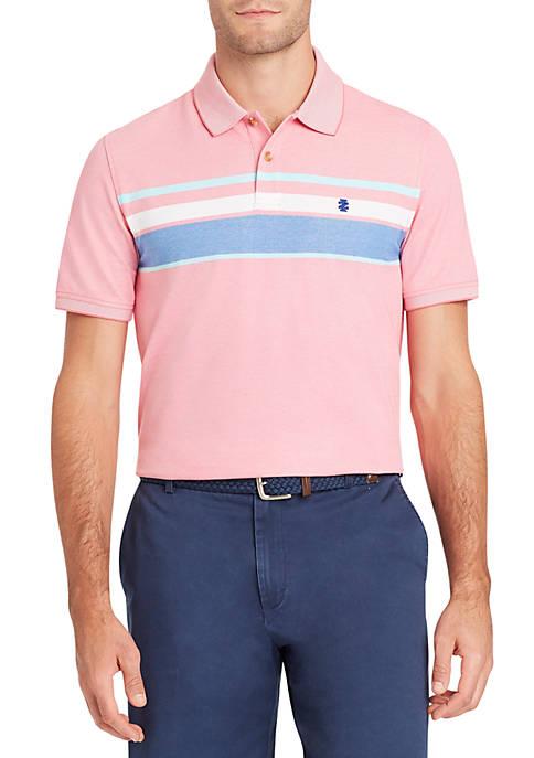 Top IZOD Short Sleeve Chest Stripe Polo