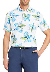 Short Sleeve Hawaiian Print Polo