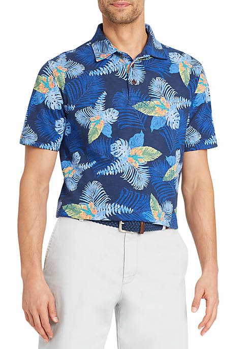 IZOD Short Sleeve Hawaiian Print Polo
