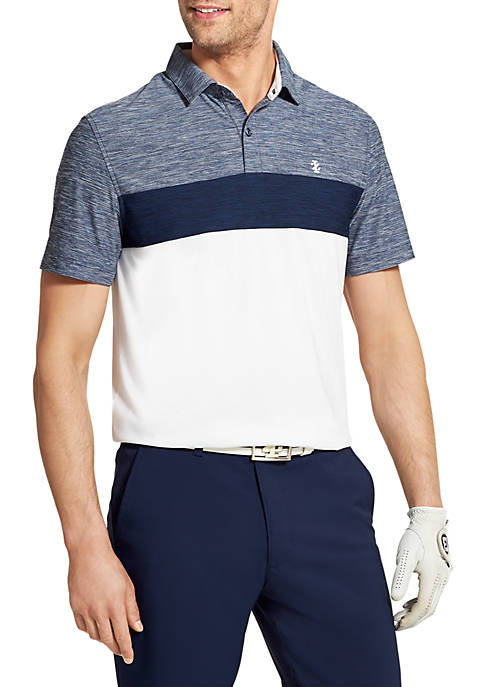 IZOD Short Sleeve Pieced Chest Stripe Polo