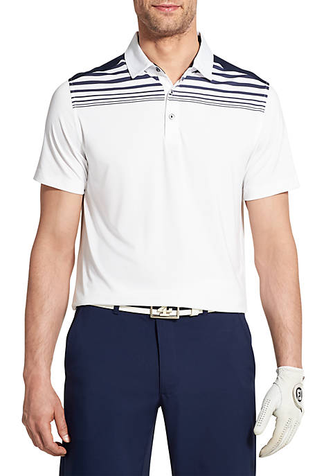 IZOD Short Sleeve Pieced Chest Stripe Polo free shipping