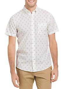 Short Sleeve Novelty Print Breeze Button Down Shirt