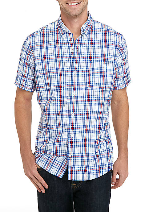IZOD Short Sleeve Breeze Patriotic Plaid Shirt