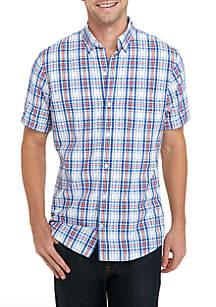 Short Sleeve Breeze Patriotic Plaid Shirt