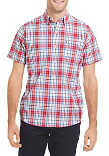 Short Sleeve Plaid Poplin Button Down Shirt