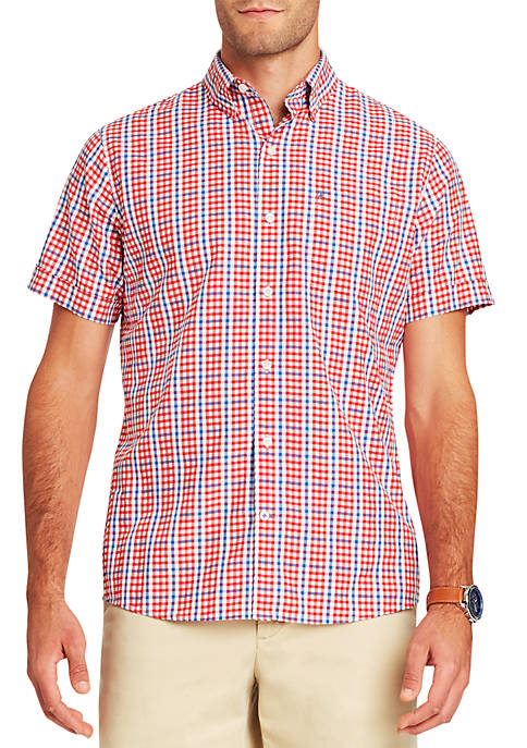 IZOD Short Sleeve Multi Gingham Breeze Button Down
