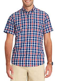 Short Sleeve Plaid Breeze Button Down Shirt