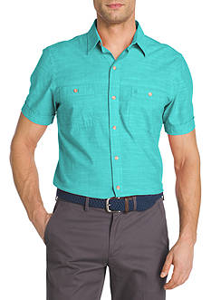 IZOD Short Sleeve Chambray Button Down