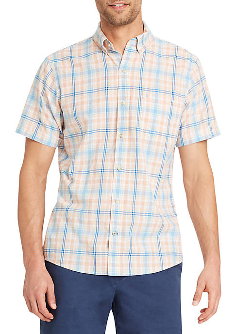 IZOD Short Sleeve Plaid Chambray Button Down Shirt