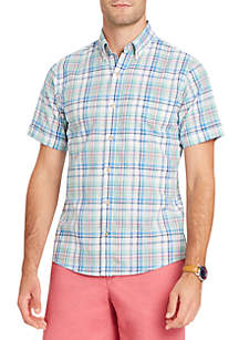 Short Sleeve Chambray Plaid Button Down