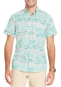 Short Sleeve Flamingo Chambray Button Down Shirt