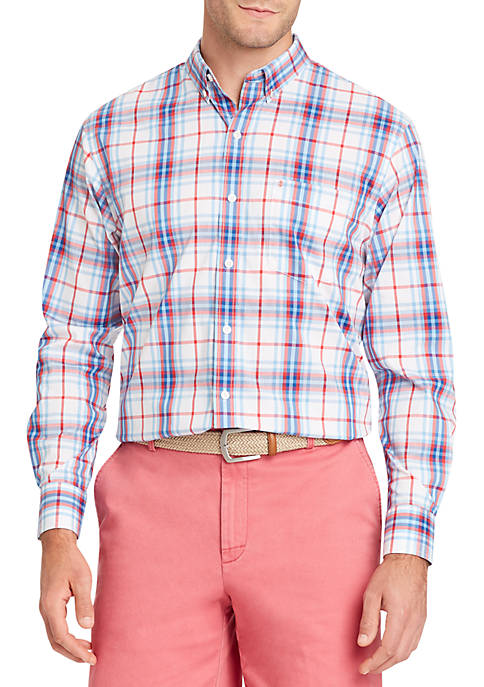 IZOD Long Sleeve Flex Large Plaid Shirt