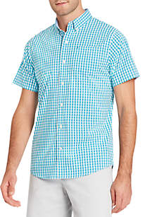 Short Sleeve Breeze Gingham Button Down Shirt